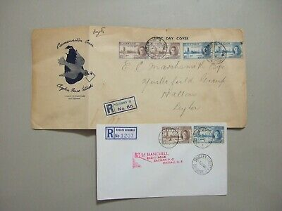 Two British Colonies PEACE ISSUE registered fdc:Bahamas,Ceylon