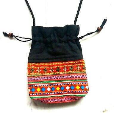 Small neck pouch/bag for coins keys in bright orange/pink pattern