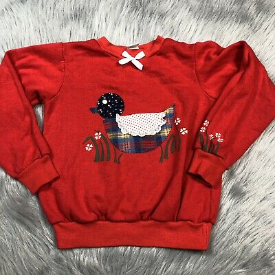 Vintage Carters Girls Red Floral Plaid Duck Sweater