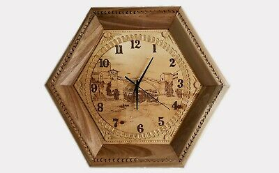 Handmade wooden decorative wall clock with picture of Old Bridge Mostar