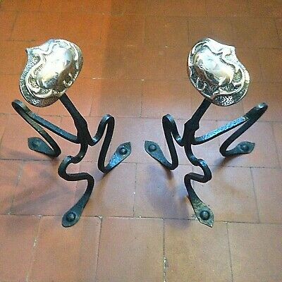 A Magnificent Pair Of Arts & Crafts Movement Fire Dogs (Andirons) -  Art Nouveau