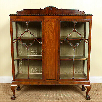 Antique Mahogany Bookcase Glazed Display Cabinet Astragal Victorian