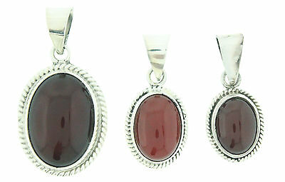 New 925 Sterling Silver Oval Carnelian Stone Pendant Necklace Charm