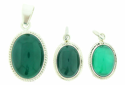 925 Sterling Silver Oval Green Onyx Stone Pendant Necklace Charm
