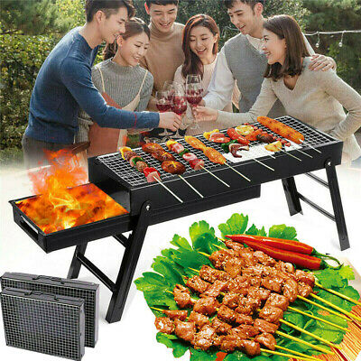 Portable Black BBQ Charcoal Grill Barbecue Smoker Garden Outdoor Cooking Steel