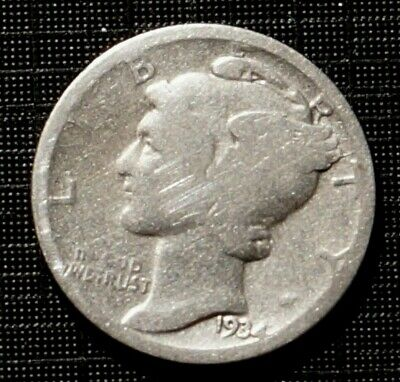 silver 1934 UNITED STATES  Mercury - 10 cents (120M)