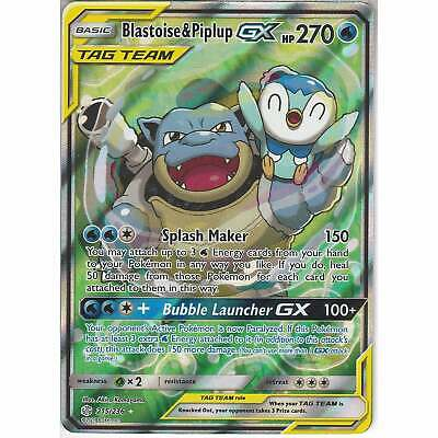 215/236 Blastoise & Piplup TAG TEAM GX Rare Ultra Card Cosmic Eclipse | Pokemon