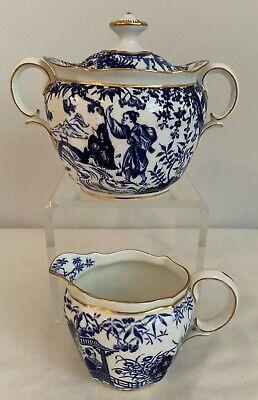 Royal Crown Derby Blue Mikado Creamer And Covered Sugar Bowl- Date Code 1924