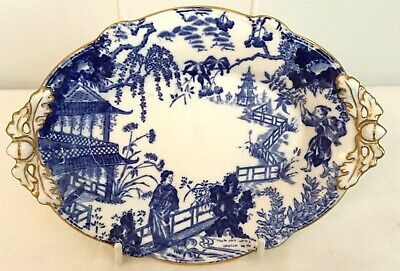 Royal Crown Derby Blue Mikado Oval Footed Dish - Date Code 1928
