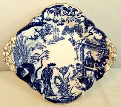 Royal Crown Derby Blue Mikado Large Square Footed Dish - Date Code 1923