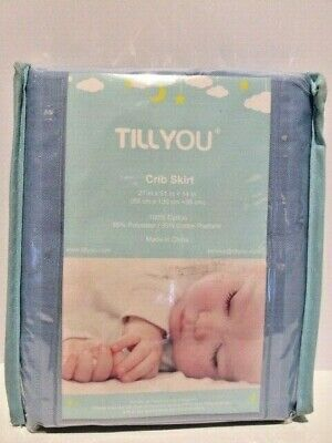 TILLYOU Crib Skirt Pleated 100% Natural Cotton Nursery Crib Bed Tailored Blue