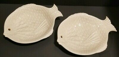 "FITZ & FLOYD SET OF 2 VINTAGE 1975  12 5/8""in LONG FISH PLATES TRAYS PLATTERS"