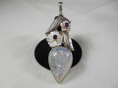Sajen Blue Quartz /& Mother-of-Pearl Doublet Pendant in Sterling Silver