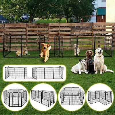 "24""/35""Tall Metal Dog Cat Exercise Fence Playpen Kennel 12/16 Panel Safe For Pet"