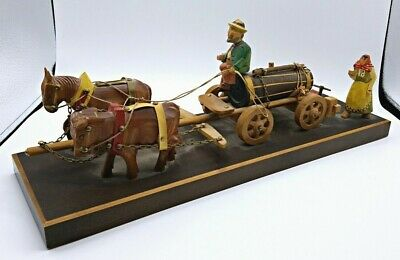 Rhon Sepp, Musical German Hand Carved Horse Oxen Beer Carriage Scene