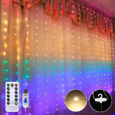 UK Flash Twinkle Star Curtain Window LED String Fairy Lights Xmas Hanging Lamps