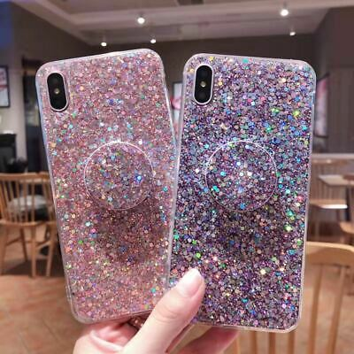 UK Glitter Case With Pop Up Socket Relief TPU Cover For Samsung A10 A40 A50 A70