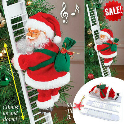 Electric Climbing Ladder Santa Claus Christmas Xmas Music Figurine Party Decor >