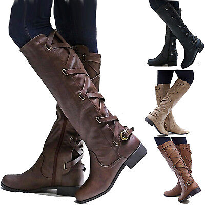 Women's Thigh High Over Knee Flats Boots Long Stretch Lace Up Riding Shoes Size