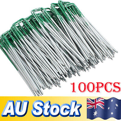 100X Lawn Anchor U Tent Pegs Weed Mat Fastening Turf Pins Grass Synthetic Shape