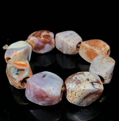 China Ancient Liao Jin Natural weathering Chicken bone White old agate Bracelets