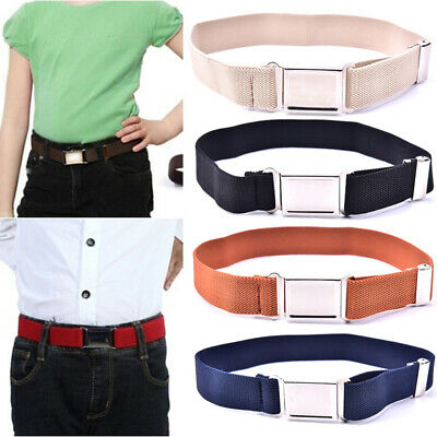 Elastic Solid Color Canvas Belts Boys Girls Elastic Belt Adjustable for Kids FB