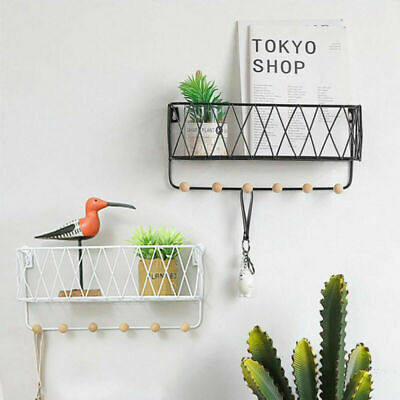 Wall Mounted Shelf Wire Rack Storage Unit With Hooks Basket Key Hanging Hanger A