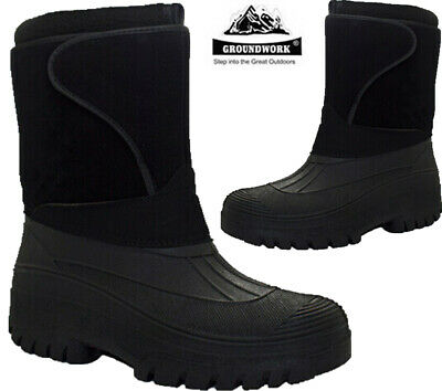 Mens Snow Winter Mucker Boots Grip Sole Thermal Warm Lined Wellington Shoes Sz