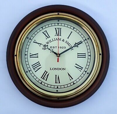 12'' Wooden Wall Clock Roman Dial Sir William Smith Best Item  For Home & Office