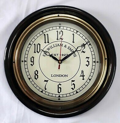 12'' Wooden Brass Wall Clock 1-2 Dial Sir William Smith Best  For Home & Office