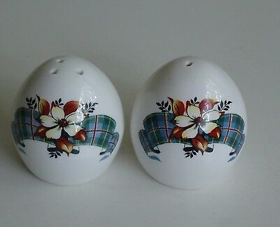 Vintage Sandford England Salt & Pepper Shakers *British Columbia Tartan Pattern