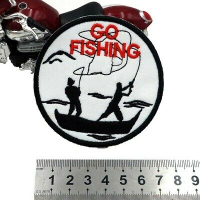 """Ecusson Patch Brodé Thermocollant pêche """"go fishing"""""""