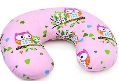 Feeding Pillow Baby Breast Pregnancy Maternity + Removable Cover Owls Pink