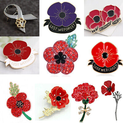 1PC Poppy Red Gold Brooches Enamel Crystal Pins Poppies Brooch Badges 2019