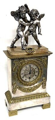 Antique Silvered Bronze Chimney Bracket Mantel Clock With Cherubs To The Top