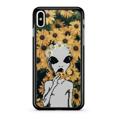 Extraterrestrial Space Alien Eating Pizza Floral Sunflowers Phone Case Cover