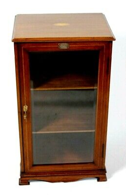 Antique Victorian Marquetry Inlaid Mahogany Music Cabinet - FREE Shipping [5639]