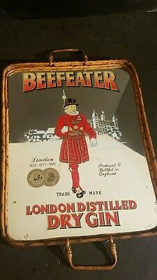 """Vintage MIRRORED BEEFEATER""""LONDON/DRY GIN""""bamboo/reed sides/wood bottom"""