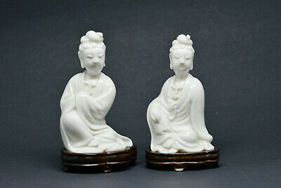 Antique Chinese pair Blance de Chine porcelain Guan Yin statues - 4 inches tall