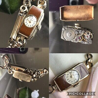 1920's Ladies Art Deco Brown Enamel Elgin Watch ~ Runs