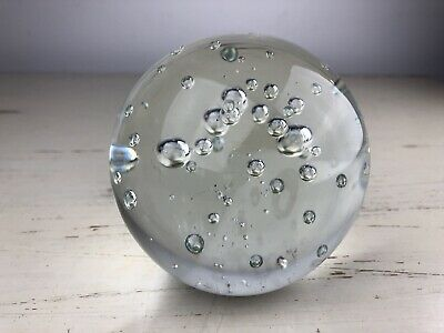 Clear Large Bubble Glass Paperweight Vintage From An Eatate Clear Pretty