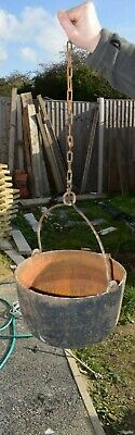 "Vintage Cast Iron Hanging Pot 12"" Pot with Spout"