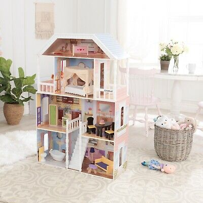 Barbie Size Doll House Playhouse Dream Girls Wooden Play Dollhouse Furniture