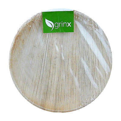 Grinx Palm Leaf Plate Disposable Plates 100% Biodegradable 25cm Compostable
