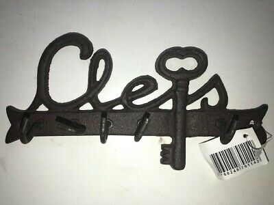 "French Writing ""Clefs"" Key Rack hook Holder Hanger Wrought Iron Great Gift"