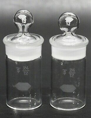 Lot of (2) Kimble KIMAX Glass Cylindrical Weighing Bottle with 24/12 Stopper