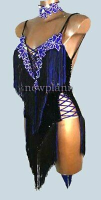 L1976  women Competition samba  Latin/Rhythm Rumba dress UK 8 US 6black