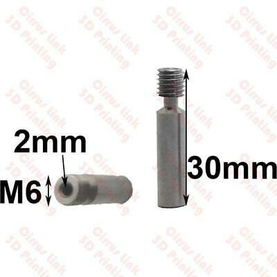 3D Printer throat 30mm long M6 2mm all metal MK8 for 1.75 filament smooth side
