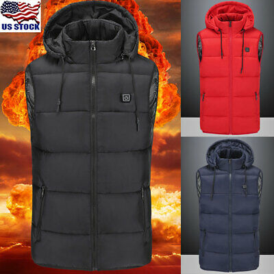 Electric USB Men Women Winter Warm Heated Hooded Warm Vest Coat Heating Jacket