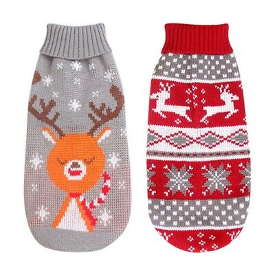 Christmas Pet Dog Warm Sweater Vest Outfits Puppy Dog Winter Clothes Dress USA